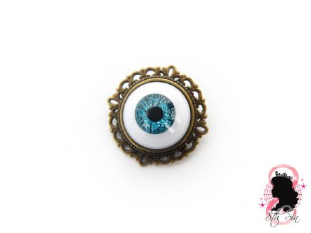 Antique Bronze & Blue Eyeball Brooch